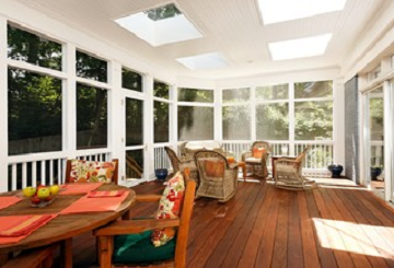 sunroom with sky lights